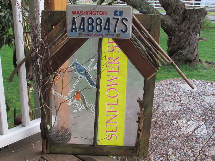 repurpose pretty sunflower seed sack decor, gardening, outdoor living, repurposing upcycling