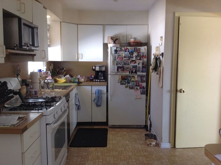 q how 2 redo formica counters backdrop, countertops, home improvement, kitchen backsplash, kitchen cabinets, kitchen design, Room is very small ugly as