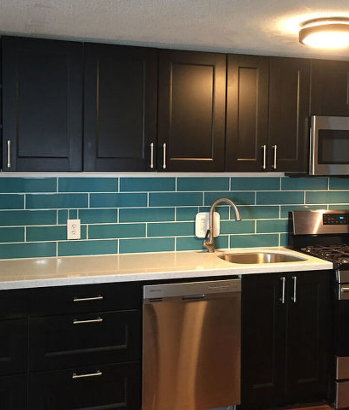 diy turquoise subway tile backsplash, how to, kitchen backsplash, kitchen cabinets, kitchen design