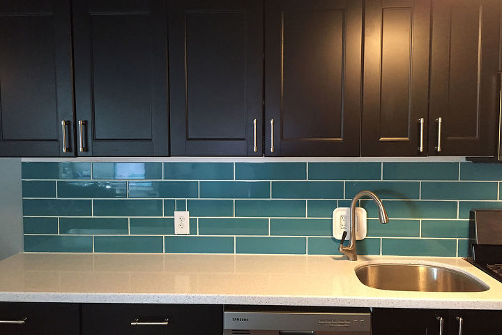 Turquoise subway tile backsplash hometalk diy turquoise subway tile backsplash how to kitchen backsplash kitchen cabinets kitchen ppazfo