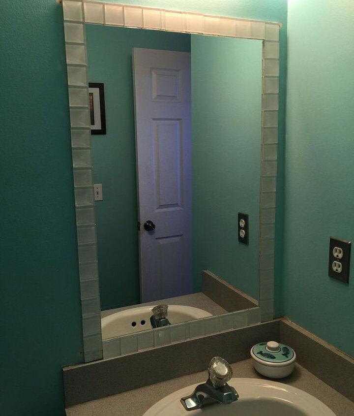 tiling a frameless bathroom mirror, bathroom ideas, painted furniture, tiling