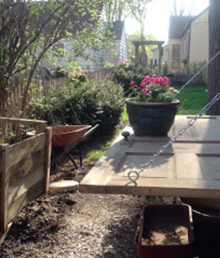 reclaimed door potting bench, container gardening, doors, gardening, repurposing upcycling
