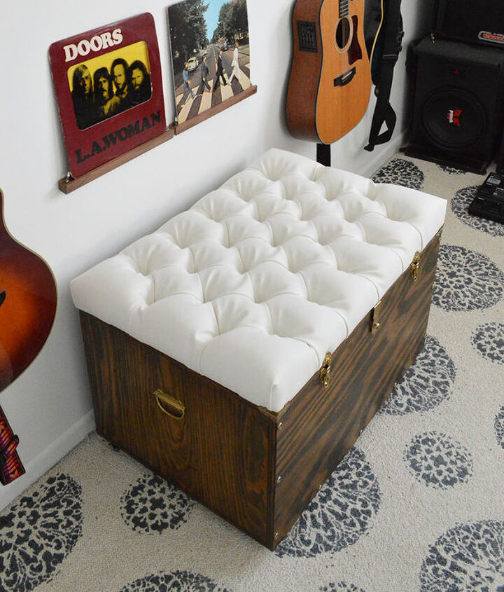 DIY diamond-tufted storage ottoman.