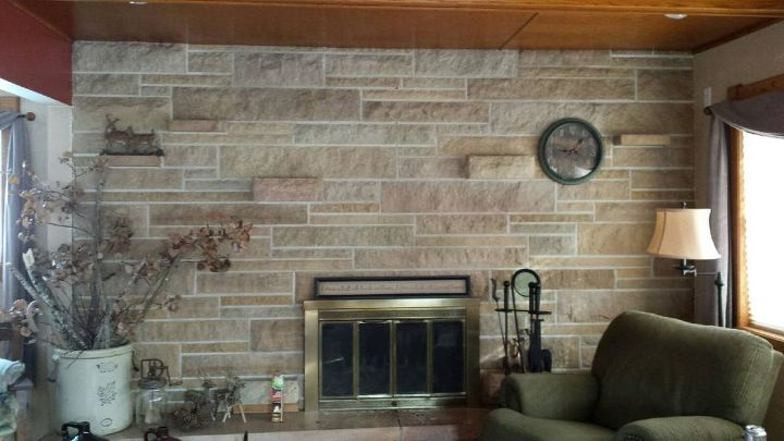 q updating a stone fireplace wall, concrete masonry, fireplaces mantels, living room ideas, wall decor, Note the wood ceiling