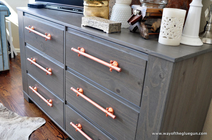 industrial copper drawer pulls, how to, painted furniture, repurposing upcycling