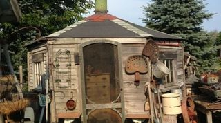 , A old chicken coope At D M General Store Antiques Caledonia Wi