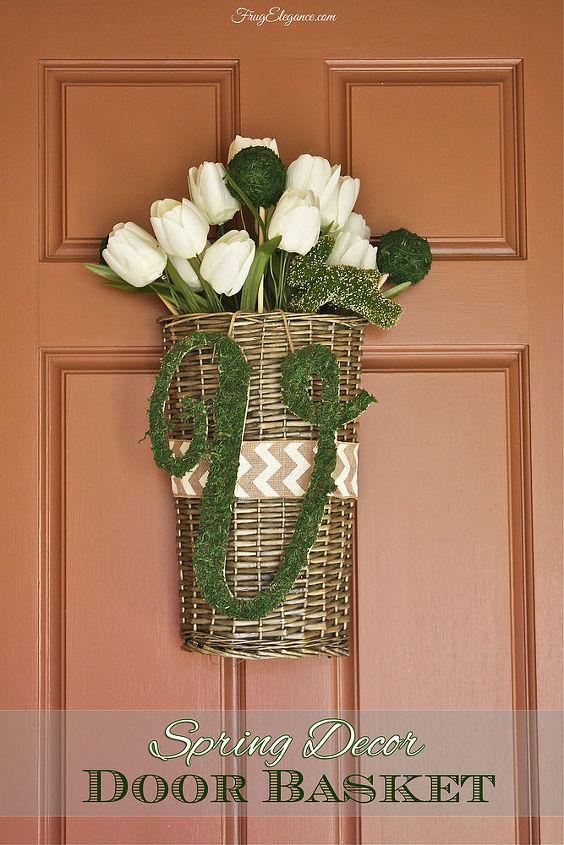 spring decor door basket moss covered initial, crafts, diy, doors, home decor, seasonal holiday decor