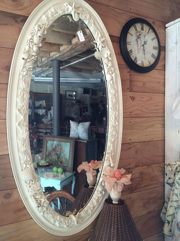 sea shells far from the sea shore a mirrored view, crafts, home decor, repurposing upcycling