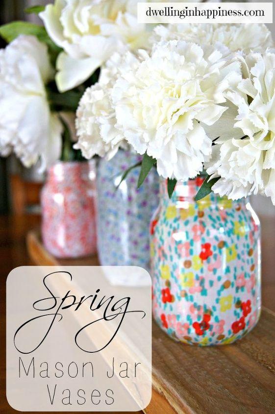 mason jar vases, crafts, decoupage, how to, mason jars, repurposing upcycling
