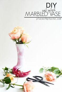 diy nail polish marbled vase, crafts, how to, repurposing upcycling