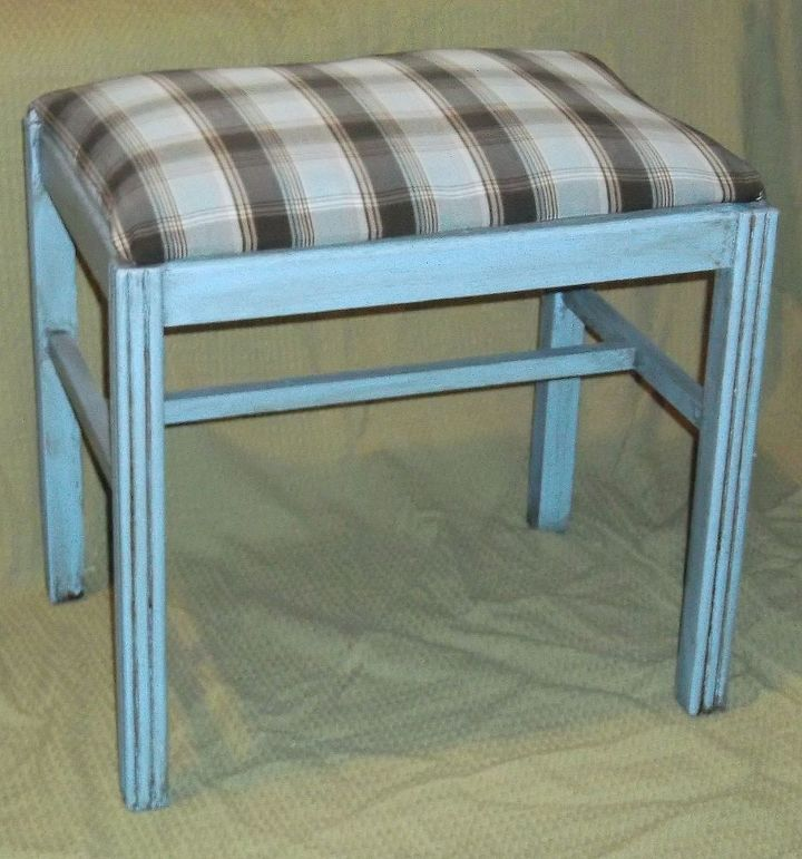 giving a little footstool a new life, painted furniture, reupholster
