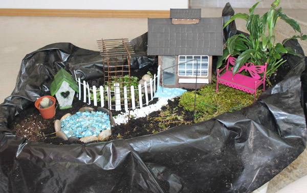 fairy garden in antique wicker basket, container gardening, gardening, repurposing upcycling