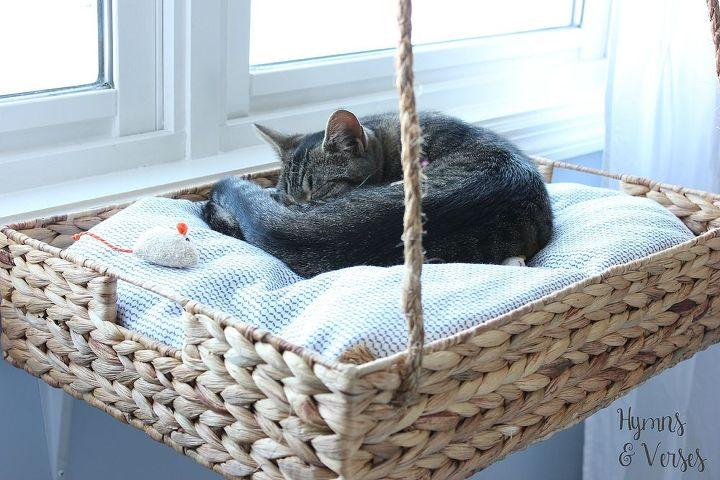 diy hanging basket cat perch, how to, pets animals, repurposing upcycling