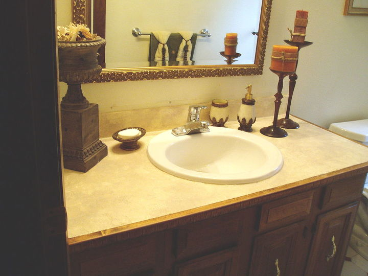 how to turn your tile counter top in to faux sandstone without removal, bathroom ideas, countertops, home improvement, how to, painting