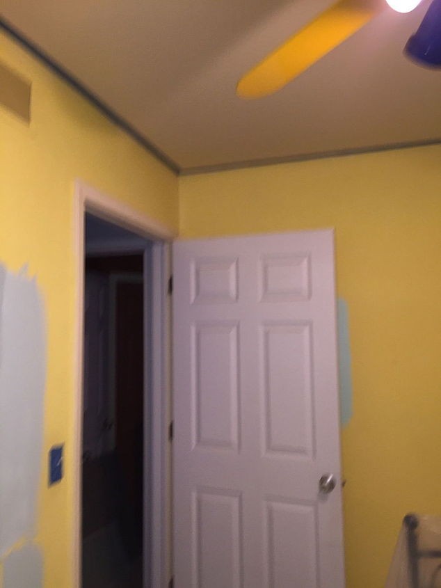 painting an ugly brightly colored ceiling fan and banana yellow walls, bedroom ideas, lighting, painting