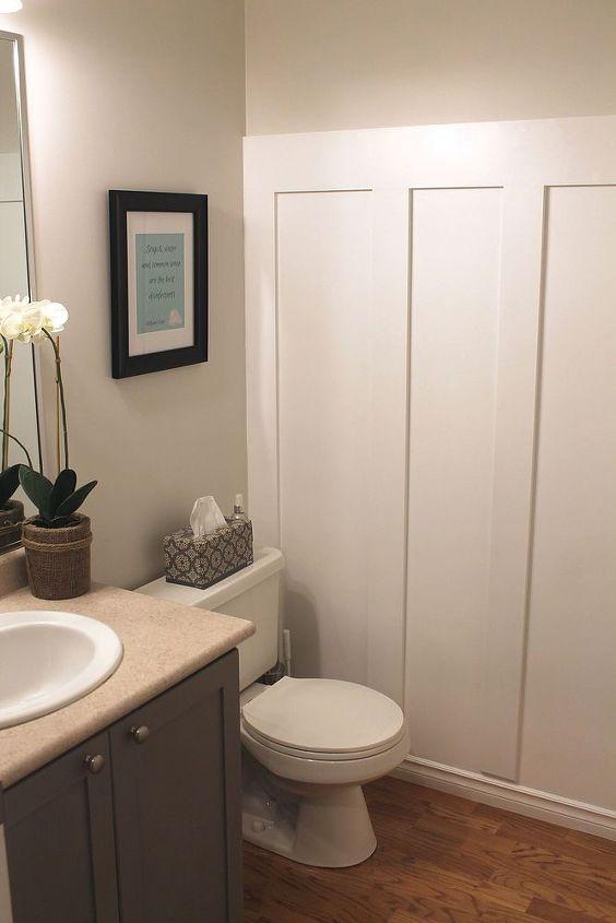 Board And Batten Wall In Small Bathroom   Hometalk on tile board bathroom, batten with beadboard, cement board bathroom, batten wall treatment, concrete board bathroom, particleboard bathroom, easy wall treatments for bathroom,