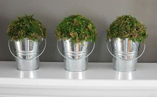 simple diy spring decor, crafts, how to, repurposing upcycling, Moss covered buckets