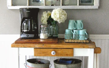 dirty paint shelf to cute coffee cart, kitchen island, painted furniture, repurposing upcycling