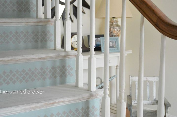 whitewashed stairs and a foyer update, chalk paint, foyer, painting, stairs