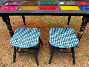 turn roadside rescue chairs into mod stools, painted furniture, repurposing upcycling
