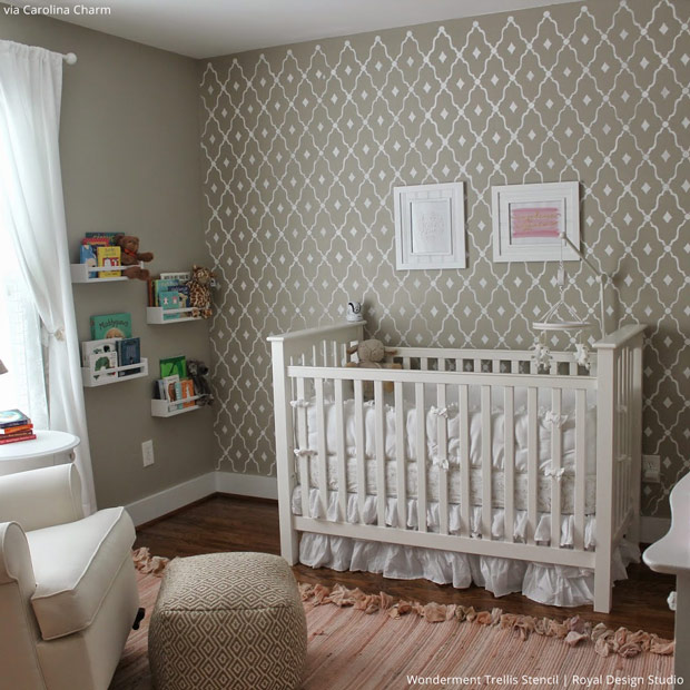 The Hallam Family Baby Room Ideas: 5 Baby Room Decor Accent Walls Ideas With Nursery Stencils