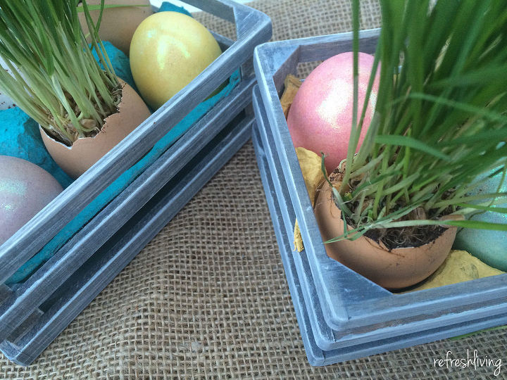 easter centerpiece with reused objects, crafts, easter decorations, repurposing upcycling