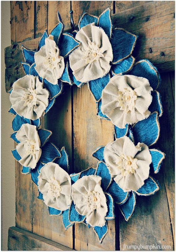 denim drop cloth wreath, crafts, how to, repurposing upcycling, wreaths