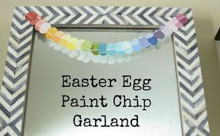 easter egg paint chip garland, crafts, easter decorations, repurposing upcycling, seasonal holiday decor