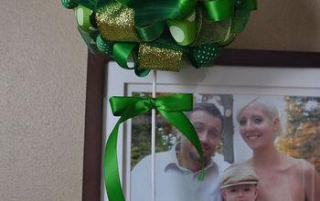 Easy St Patrick's Day Ribbon Topiary