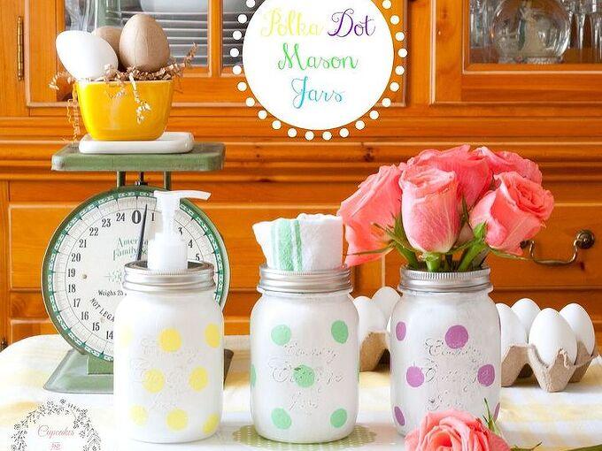 bright and cheery polka dot mason jars, crafts, how to, mason jars, repurposing upcycling