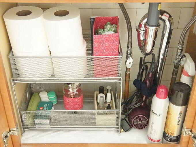 organizing under bathroom sinks, bathroom ideas, organizing, storage ideas