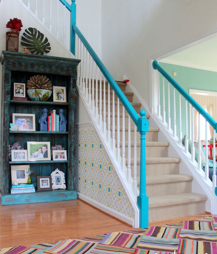 amazing foyer transformation, foyer, painting, stairs
