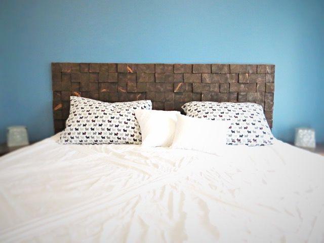 A Custom Removable Diy Wood Block Headboard For Cheap Hometalk