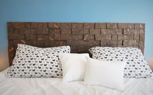a custom removable diy wood block headboard for cheap, bedroom ideas, diy, how to, woodworking projects