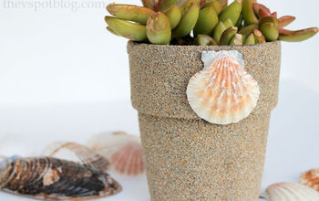 beach inspired flower pots, container gardening, crafts, decoupage, gardening, how to