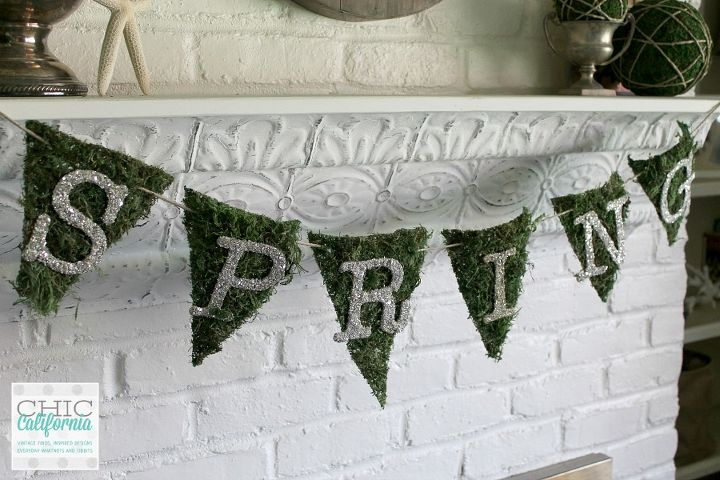 moss and glass glitter banner springforward easter banner, crafts, easter decorations, how to, seasonal holiday decor
