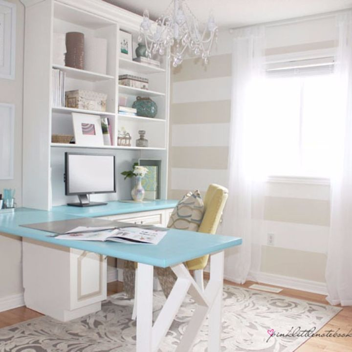 before after a pretty home office makeover, diy, home improvement, home office, painting, shelving ideas, After