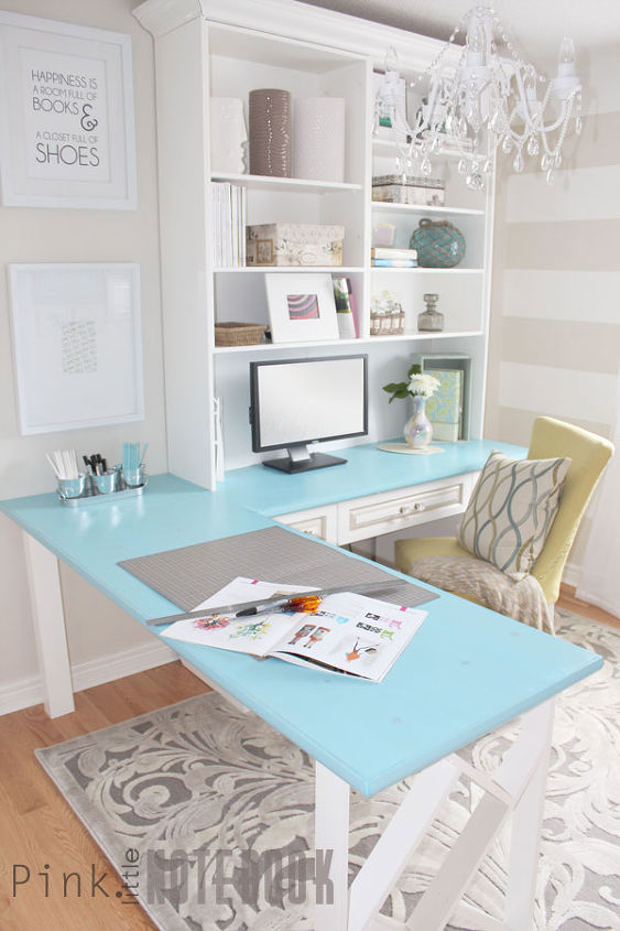 before after a pretty home office makeover, diy, home improvement, home office, painting, shelving ideas