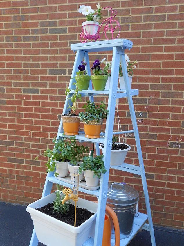 Ladder herb garden hometalk ladder herb garden container gardening gardening outdoor living repurposing upcycling workwithnaturefo