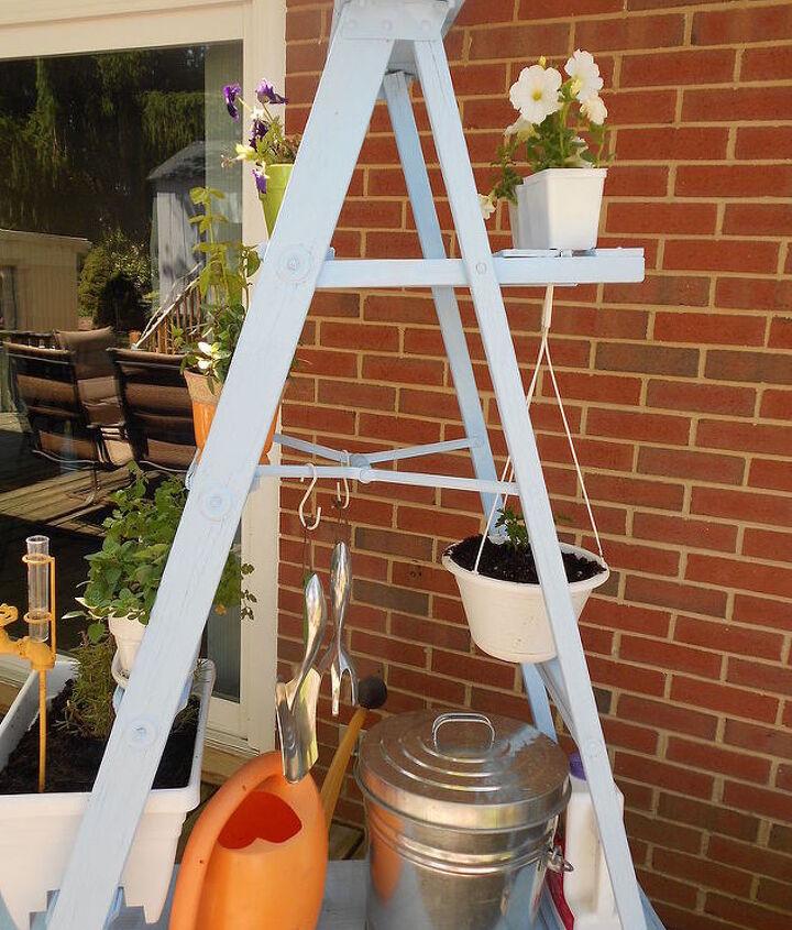 ladder herb garden, container gardening, gardening, outdoor living, repurposing upcycling