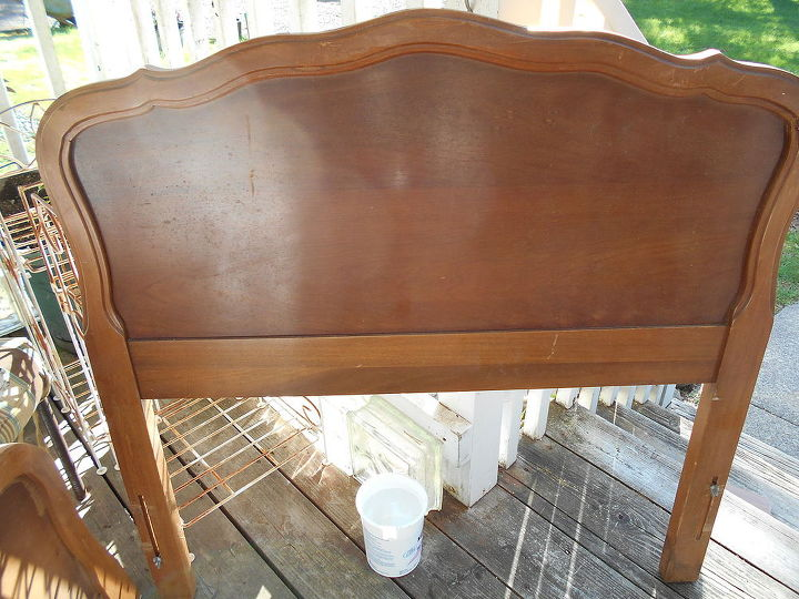 my before 1 of 2 headboard, painted furniture