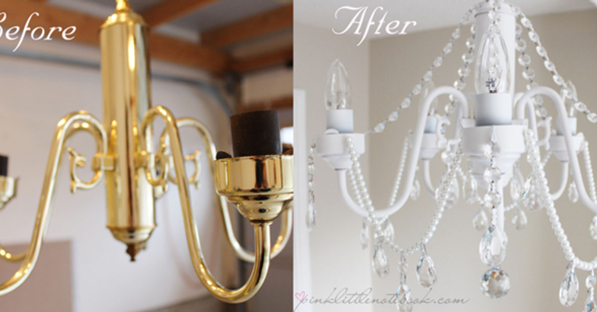 DIY Before And After White Chandelier With Crystals And Pearls - Chandelier crystals diy
