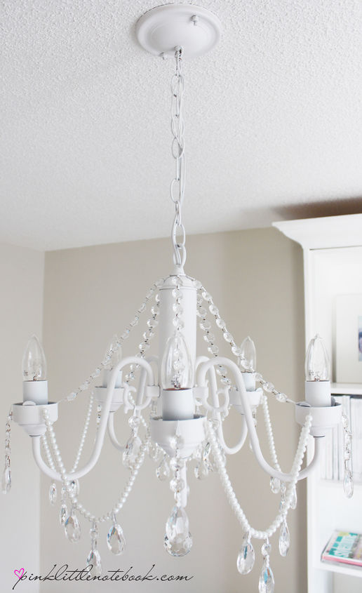 Diy Before And After White Chandelier With Crystals Pearls Lighting Painting