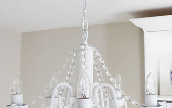 diy before and after white chandelier with crystals and pearls, lighting, painting
