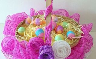 ruffled mesh easter basket diy, crafts, easter decorations, how to, seasonal holiday decor