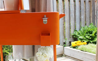 sprucing up an old cooler, outdoor living, painted furniture, repurposing upcycling