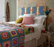 mismatched floral bedding, bedroom ideas, reupholster