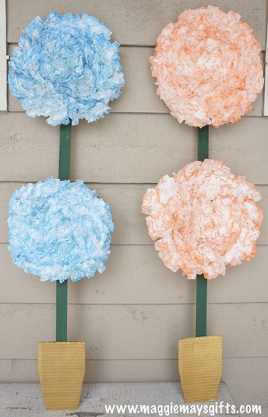 spring flower pot decor using coffee filters and a box, crafts, how to, repurposing upcycling
