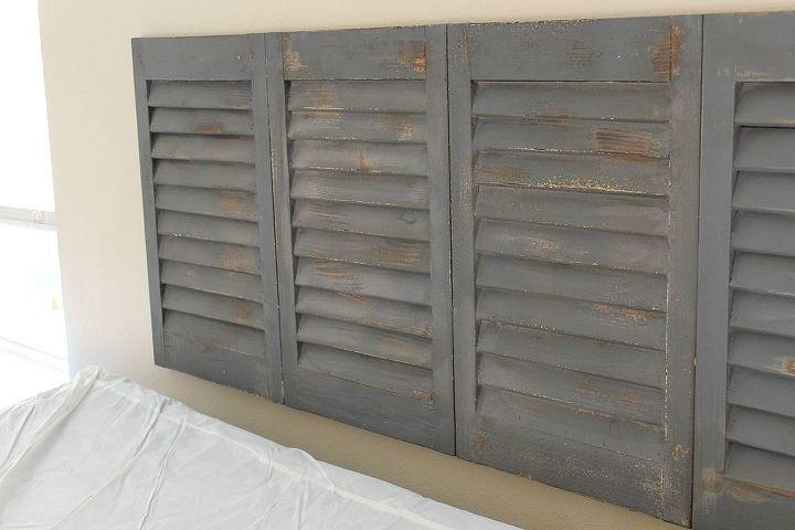 diy shutter headboard, bedroom ideas, how to, repurposing upcycling
