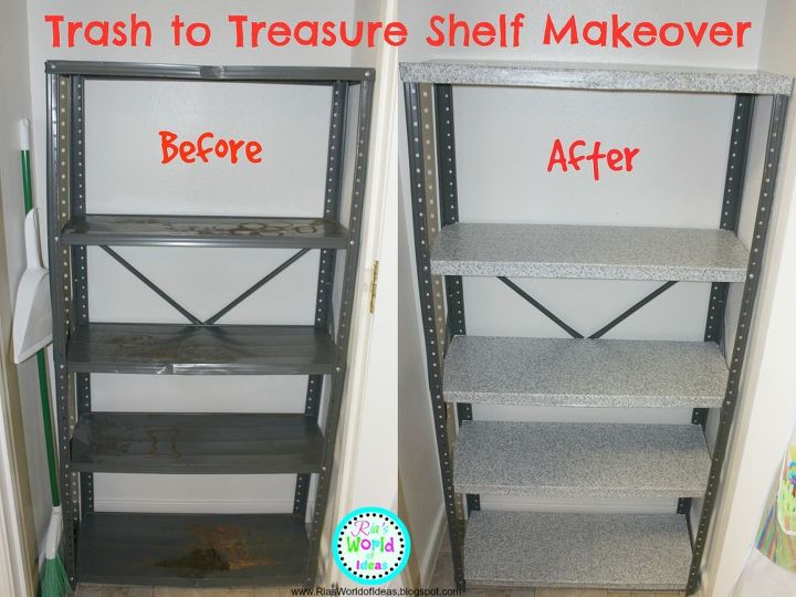 trash to treasure shelf makeover, repurposing upcycling, shelving ideas